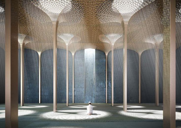 AL_A's mosque design for abu dhabi to be a light-filled vertical landscape