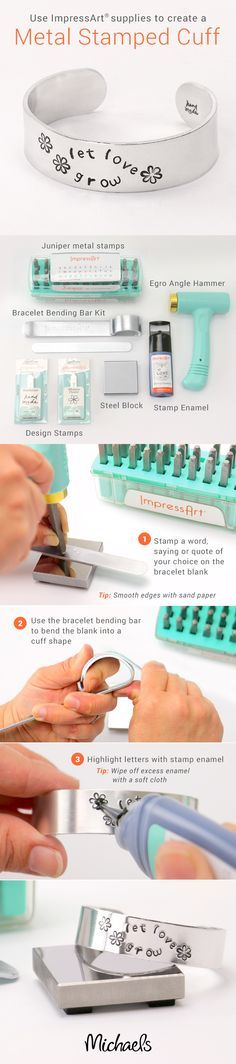 Use ImpressArt supplies to create a personalized Metal Stamped Cuff Bracelet following these easy steps.