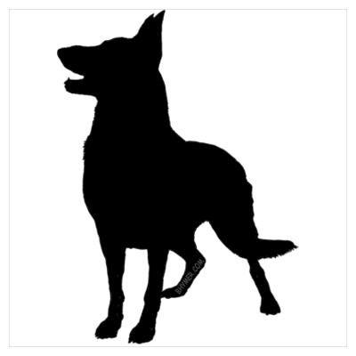 dog silouhette stencil german shephard | CafePress > Wall Art > Posters > German Shepherd Silhouette Poster