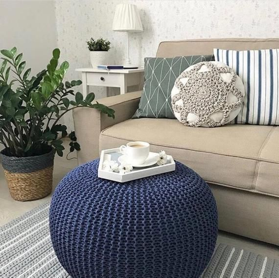 Brilliant Crochet Navy Blue Poufs Knitted Pouf And Ottoman Pouffe Cjindustries Chair Design For Home Cjindustriesco