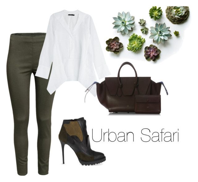 Urban Safari by laurrao on Polyvore featuring polyvore, fashion, style, Donna Karan, H&M, Alexander McQueen, CÉLINE, GREEN, brown and safarioutfit