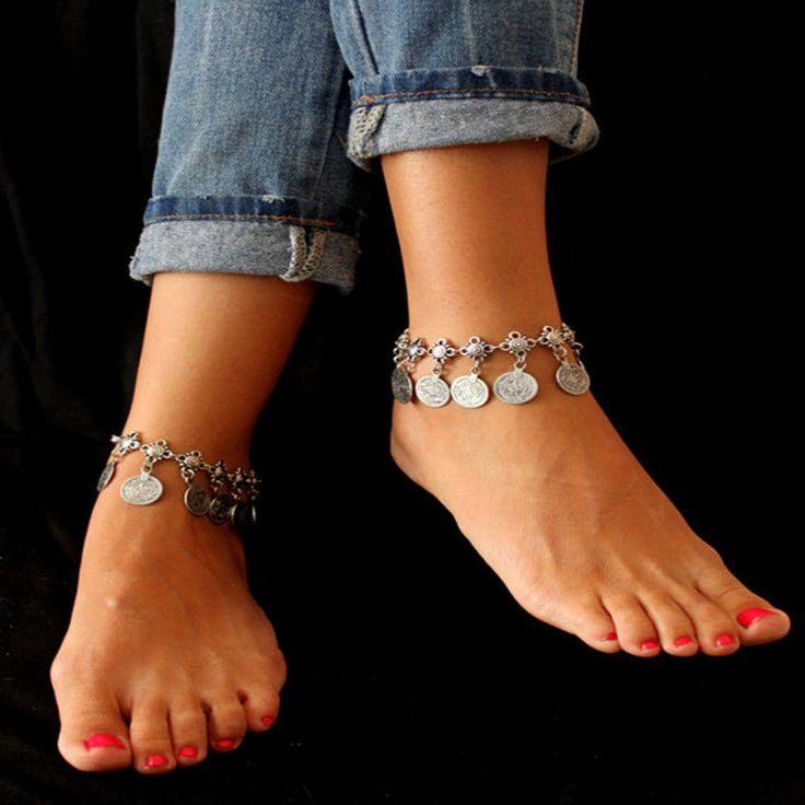Vintage Bracelet de Cheville Chaîne Bijoux Pied Anklet Argenté Coin Femme Homme