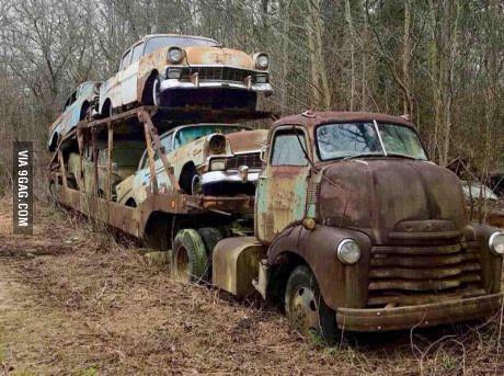 abandoned car hauler