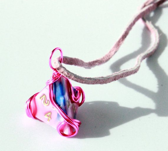Wire-Wrapped Pink-and-Blue D4 Dice Necklace by HoneysuckleRoseC