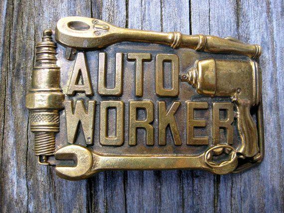 Vintage 1981 Auto Worker Brass Belt Buckle by AquarianVintage, $22.00