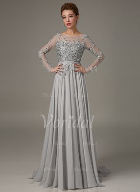 A-Linje / Prinsesse Scoop Neck Sweep Tog Blonder Chiffon Glidelås Up Ermer Langermet …   A-Line/Princess Scoop Neck Sweep Train Lace Chiffon Zipper Up Sleeves Long Sleeves No 2015 Silver Spring Fall Winter Mother of the Bride Dress