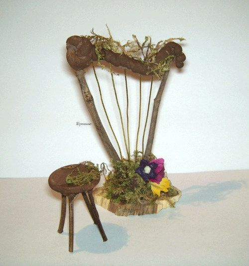 FAE HARP Dollhouse Miniature Fairy Furniture Spring by Eyemuse, $20.00