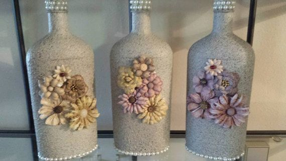 Stone Textured Glass BottlesFLOWERS AND PEARLS by bottletime