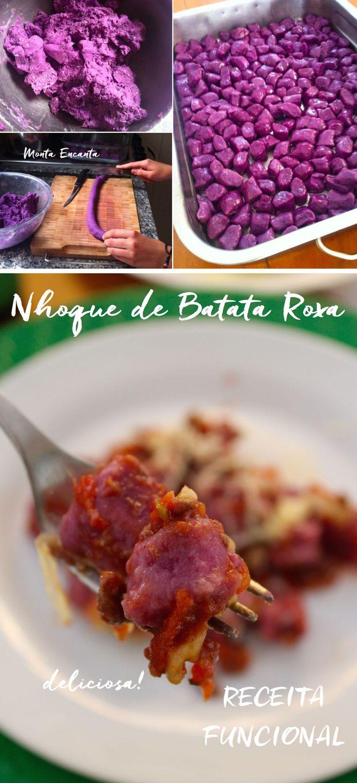 Nhoque de Batata Roxa dá água na boca só de lembrar. Além de delicioso ele tem uma cor linda e menor índice glicêmico que o tradicional!