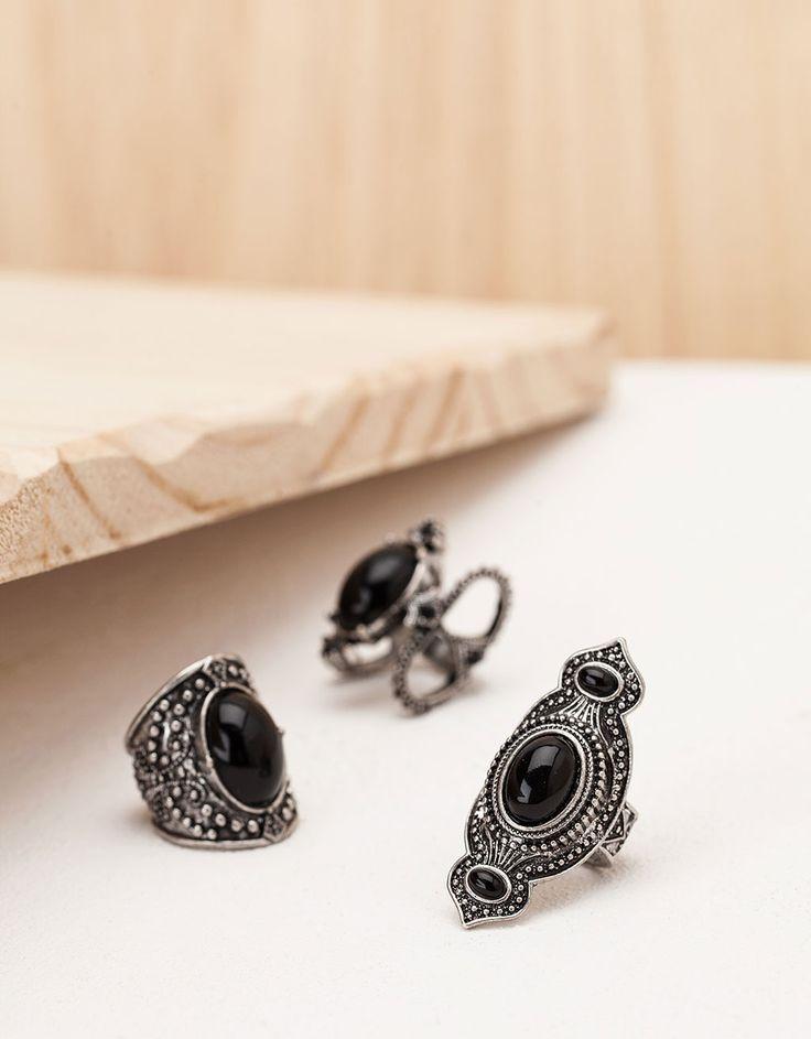 Bershka Portugal - Anéis pedras preciosas pretas