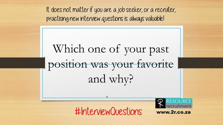 This will give the interviewer an idea of what you enjoy and if you will fit into their environment and position. #InterviewQuestions #resourcerecruitment For more interview hints and tips visit www.2r.co.za