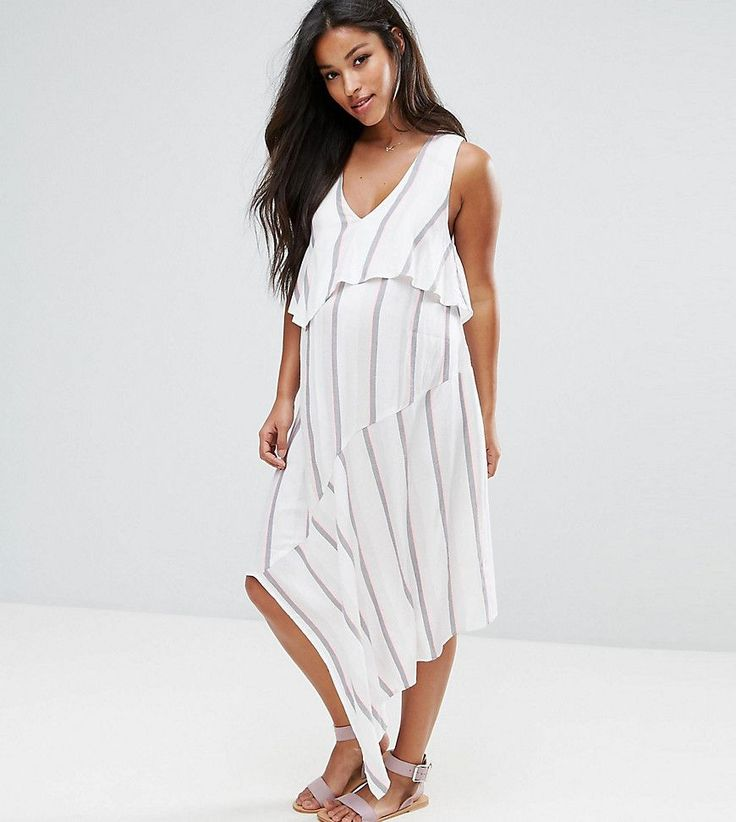 ASOS Maternity Dress with Double Layer in Stripe - White