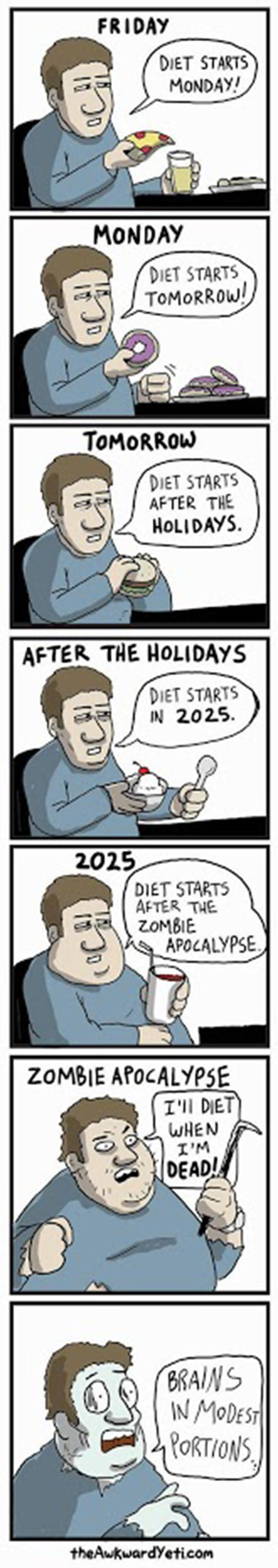 Dieting. It's a path of procrastination at times...
