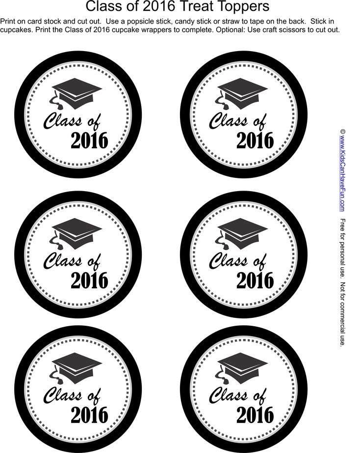 Class of 2016 Cupcake Toppers http://www.kidscanhavefun.com/graduation-activities.htm #classof2016 #graduation #gradparty