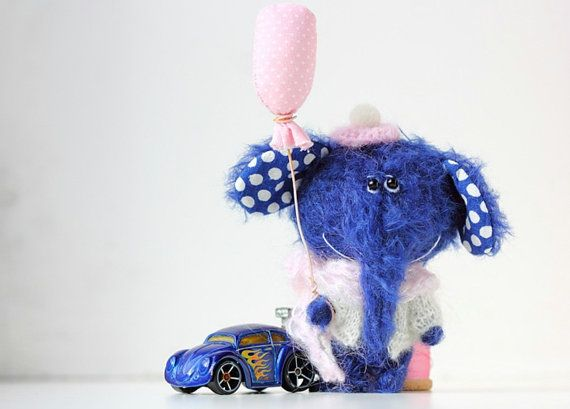 Elephant with balloon  OOAK Miniature Collectible by BearMyFriend