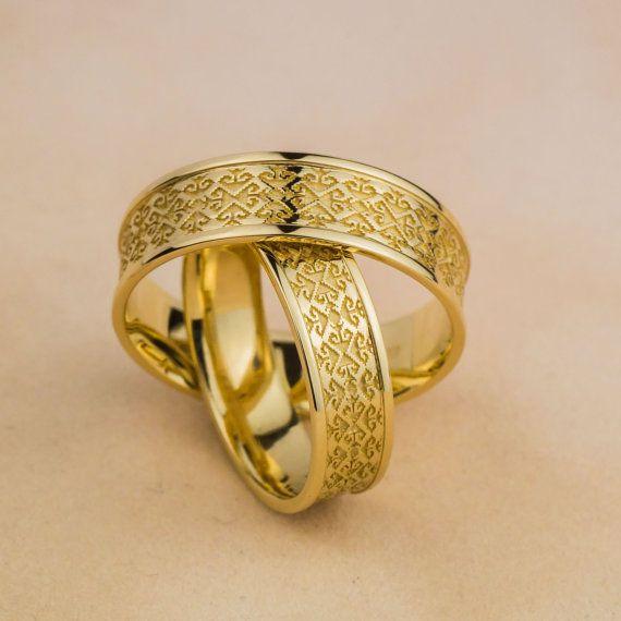 Laba Gastei Marsin Wedding Rings in 14K Yellow by ZEHAVAJEWELRY