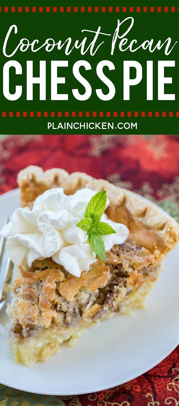 Coconut Pecan Chess Pie recipe –  two favorites in one dessert! Quick and delici…