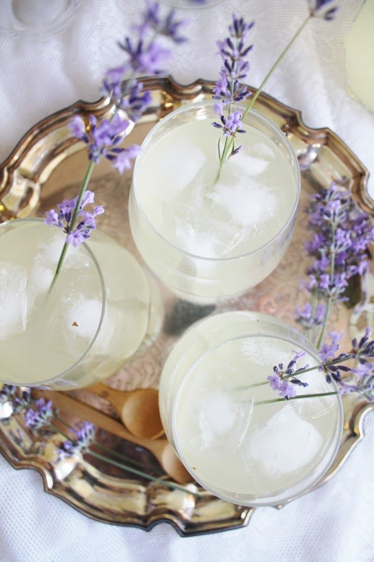 lavender lemonade: 8 cups hot water ¼ cup agave syrup ¾ cup fresh lemon juice, to taste 8 lavender sprigs  Mix the agave and lemon juice into the water until combined. Add the lavender and put it in the fridge for a couple hours until cold. Serve with ice and lavender flowers.