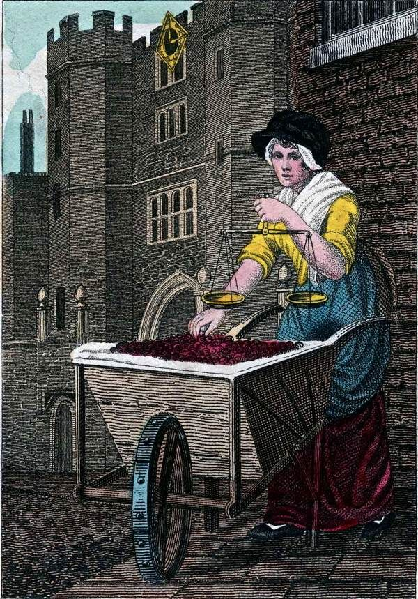 """""""Itinerant Traders of London in their Ordinary Costume with Notices of Remarkable Places given in the Background"""" by William Marshall Craig (1804): """"Cherries appear in London markets early in June, and shortly afterwards become sufficiently abundant to be cried by the barrow women in the streets at sixpence, fourpence, and sometimes as low as threepence per pound."""""""