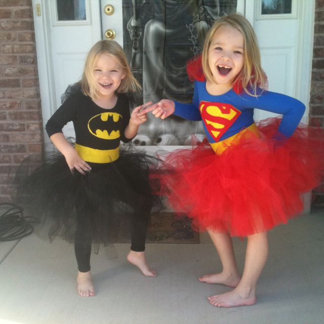 Bat girl and super girl tu tu costume I made for my friends daughters!