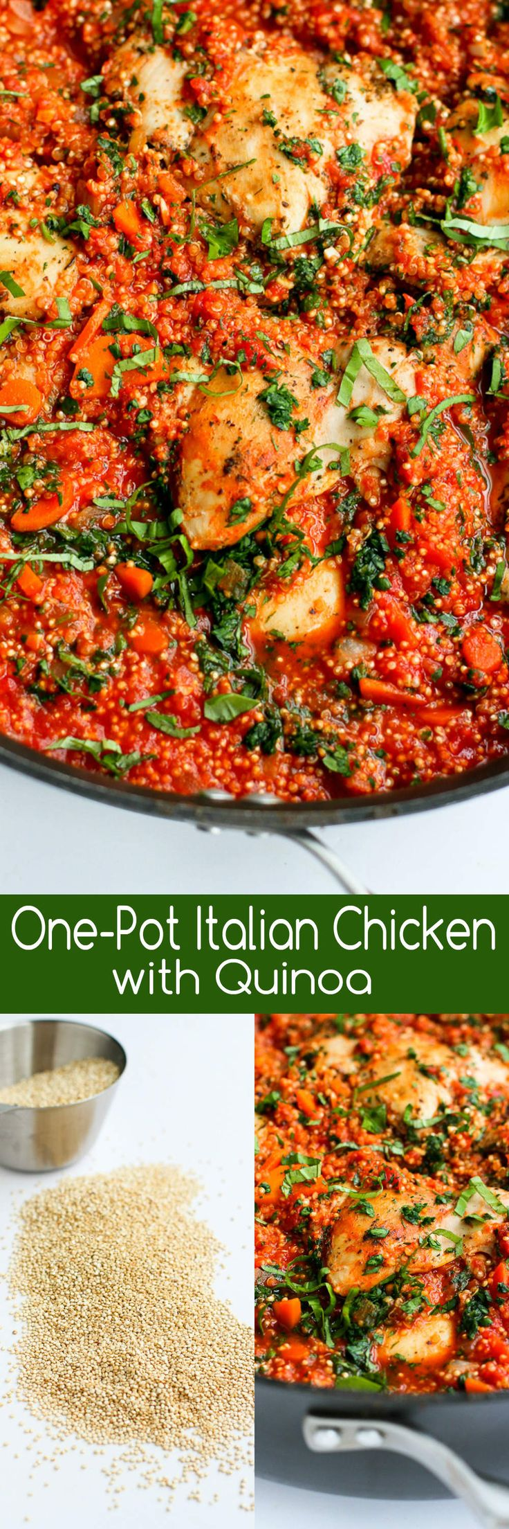 In this easy recipe, Italian flavored chicken, quinoa and tomato sauce come together in one pot for a healthy meal with minimal clean-up. 264 calories and 5 Weight Watchers SmartPoints