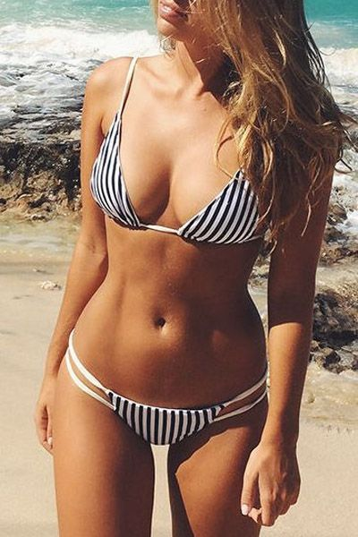 Spaghetti Strap Stripes Bikini Set: Swimwear | ZAFUL