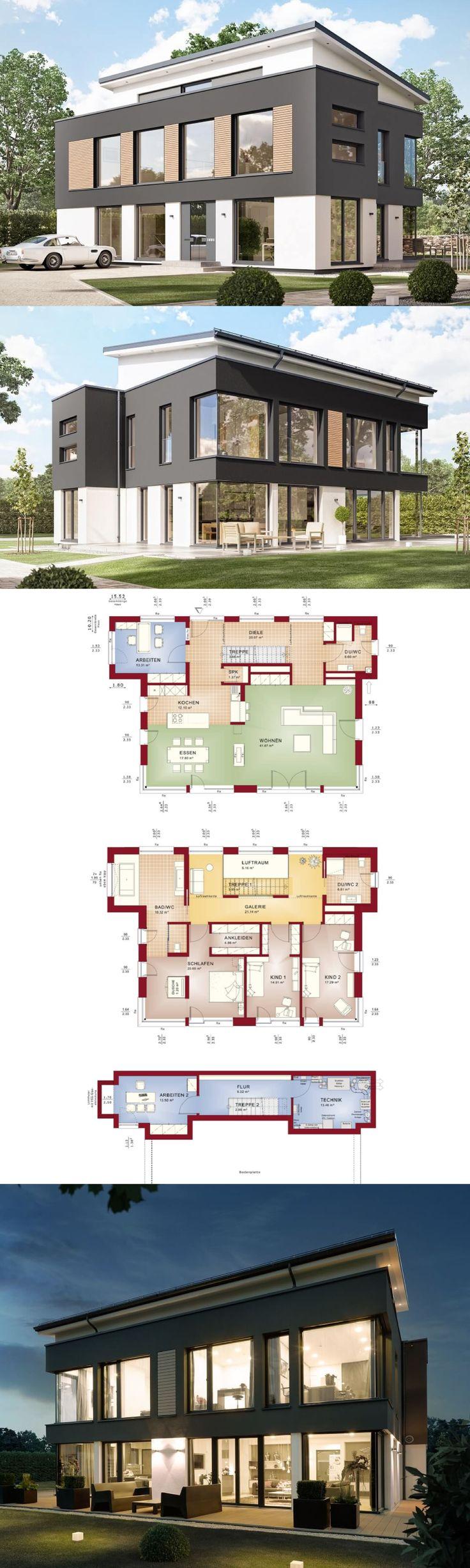 Stadtvilla Concept-M 188 Wuppertal Bien Zenker – Haus bauen mit Pultdach Grundriss modern offen – HausbauDirekt.de