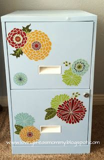 Stenciled filing cabinet with flowers, via Pinterest