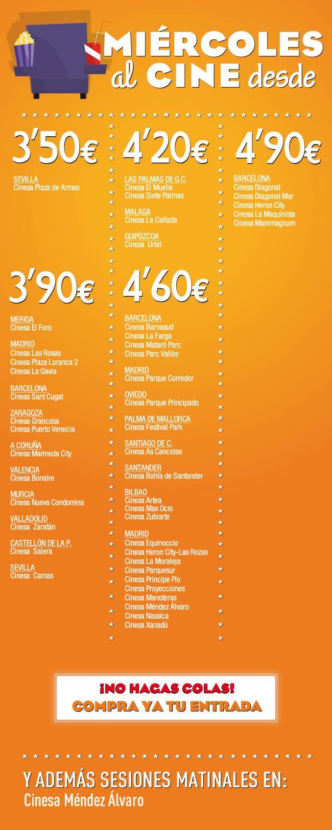 ¡Los #miércoles son de #cine en tu #CCPlazadeArmas ! Consigue tu entrada por tan solo 3,50 euros ! Cinesa Consulta cartelera