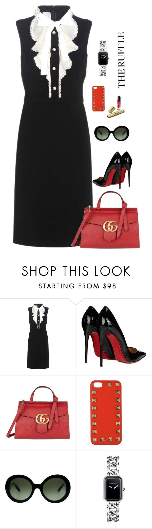 """Sin título #363"" by amchavesj-1 ❤ liked on Polyvore featuring Gucci, Christian Louboutin, Valentino, Prada, Barneys New York, Chanel and ruffles"