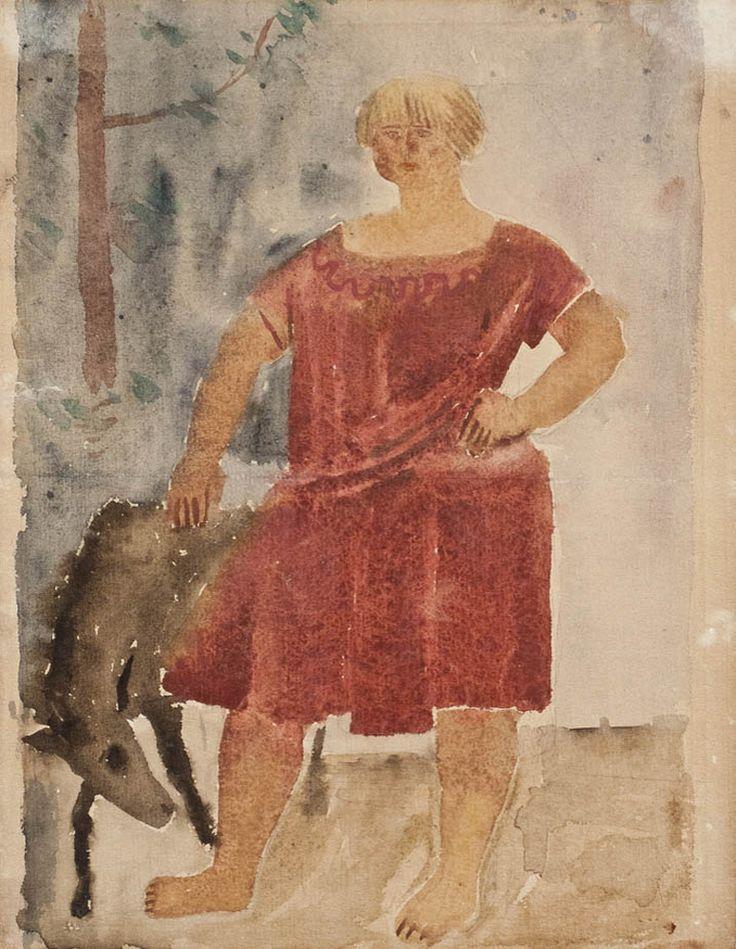 Александр Самохвалов – Женщина с жеребенком, Из серии «Ладога», 1925-1926