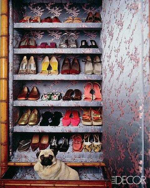 Chinese-silk-lined Victorian armoire; Natasha EschDogs Beds, Closets Doors, Elle Decor, Closets Organic, Organic Shoes, Shoe Storage, Shoes Storage, Closets Inspiration, Shoes Closets