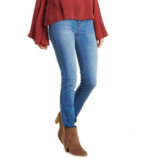Refuge Skin Tight Legging Jeans ($5.99) ❤ liked on Polyvore featuring jeans, medium wash denim, ripped denim jeans, white destroyed skinny jeans, white distressed jeans, white jeans and skinny jeans