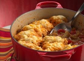 Vegetable stew with cheddar cheese dumplings. 300 cal/serving.