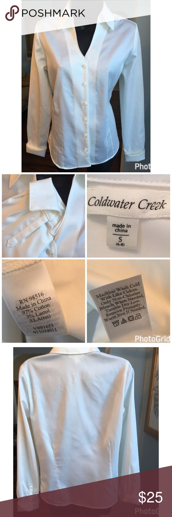 "Coldwater Creek Button Down Coldwater Creek beautiful white button down. Cuffed sleeves and v neck. The perfect white button down. Measures 24"" in length and 19"" across the chest. Excellent condition Coldwater Creek Tops Button Down Shirts"