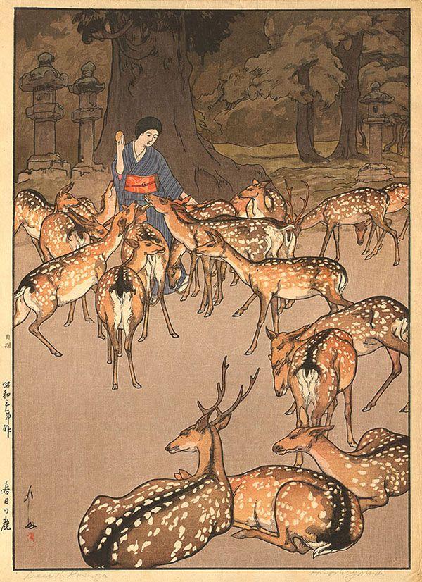 Hiroshi Yoshida, Deer-in-Kasuga_1928