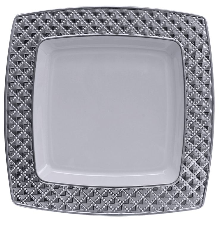 elegant diamond white and silver plastic dessert plates that are perfect for weddings and elegant events get all you high end plastic tableware are