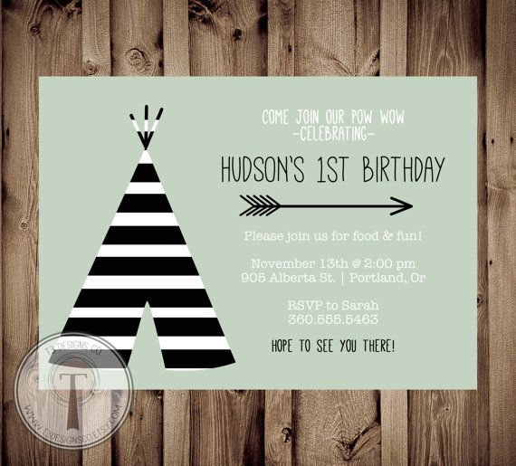 TEEPEE Birthday Invitation Striped teepee birthday by T3DesignsCo