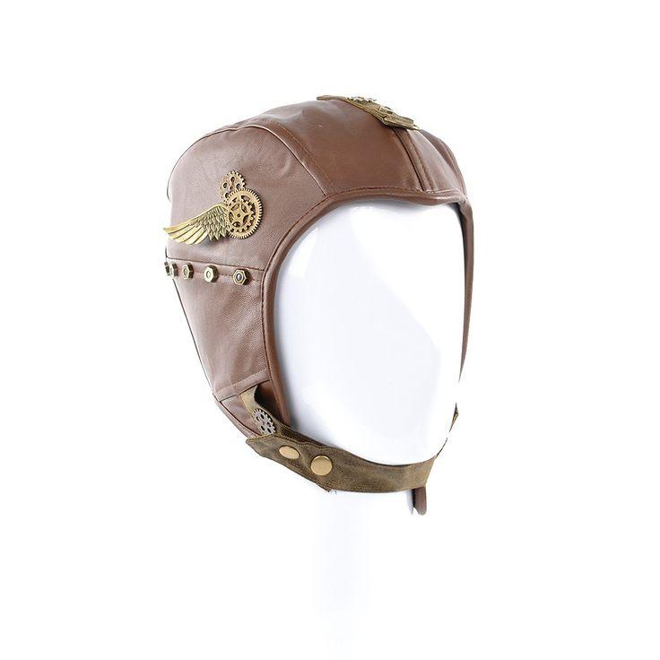 Brown Leather-Look Steampunk Hat   Steampunk Hats   Abbigliamento Steampunk