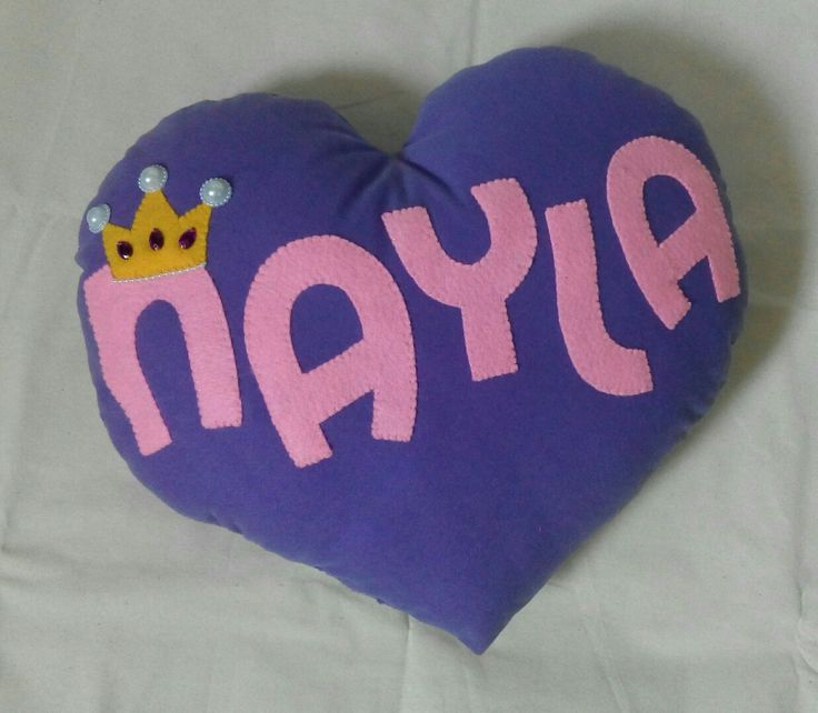 Name pillow, love shape with princess crown