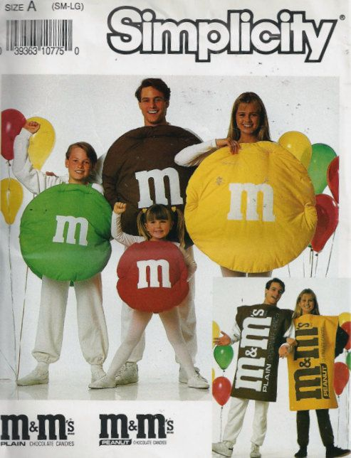 M & M's Candy Halloween Costume Sewing Pattern - Adult Child Candies