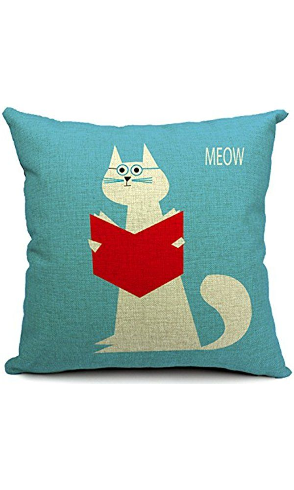 Chicozy Housewares animal doctor cat read book blue Pillow covers Cushion covers Linen pillow cover Home Decor Throw pillow CAN-062 Best Price