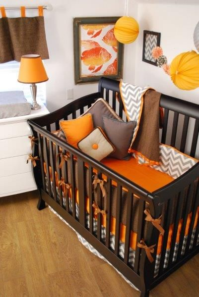 Orange Brown And Grey Chevron Crib Bedding Orange In The