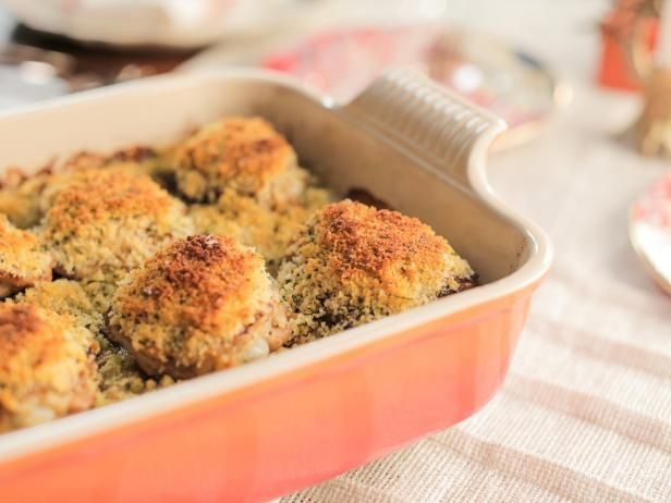Get Crunchy Mustard Chicken Bake Recipe from Food Network .  Can also be made without breadcrumb coating