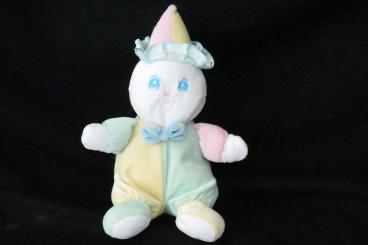 """Eden Pastel Yellow Pink Clown Outfit Rattle Stuffed Baby Plush Toy 10"""" Vintage  #Eden"""