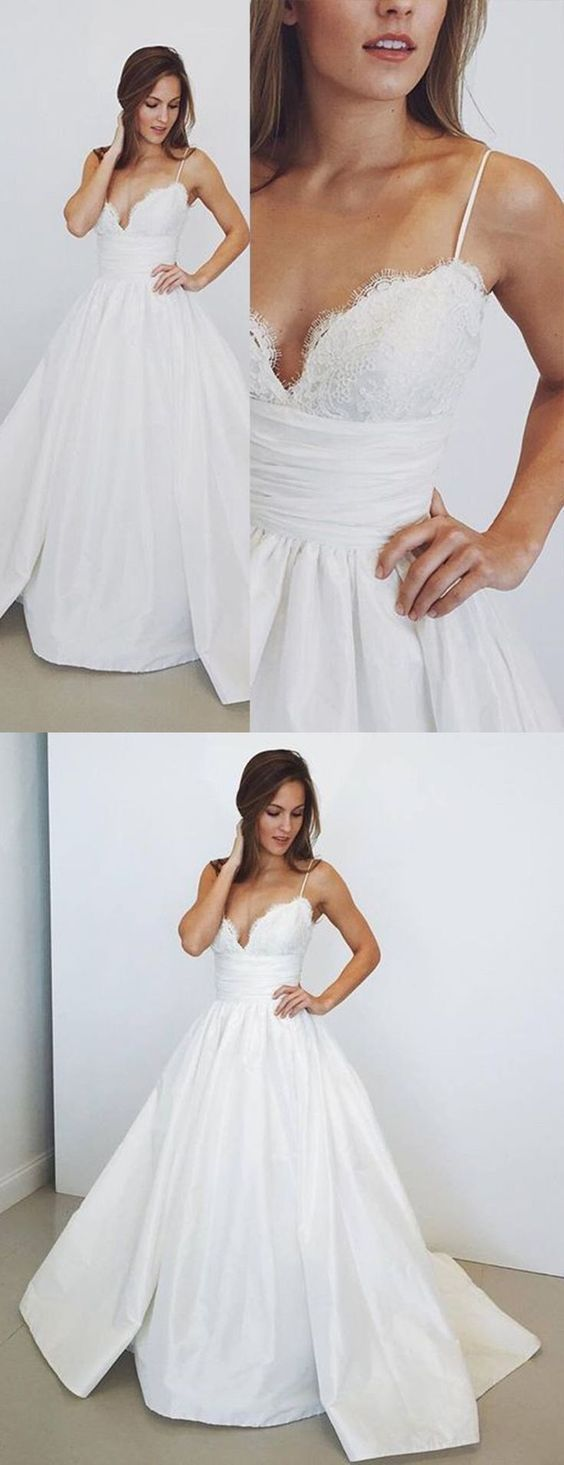 Incredibly Spaghetti Straps A-Line Prom Dresses,Long Prom Dresses,Cheap Prom Dresses, Eveni…