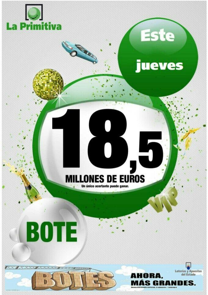 #Bote para hoy en la #Primitiva 💭💭💭 ¿Qué harías con 18,5 millones de euros?  Juega desde cualquier lugar en www.elpollitodeoro.com
