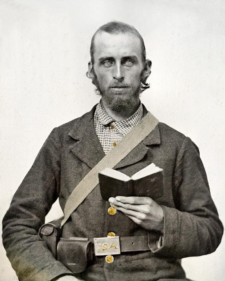 Civil War Photo Print Confederate Soldier Holding Book A Bible