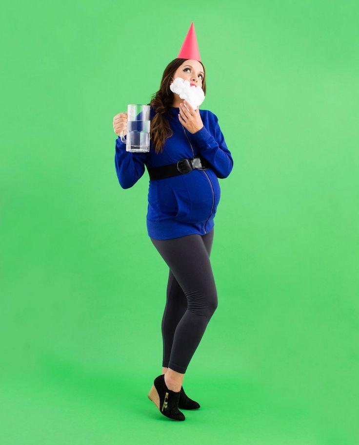 8 DIY Maternity Halloween Costumes for Pregnant Women via Brit + Co. - Garden gnome