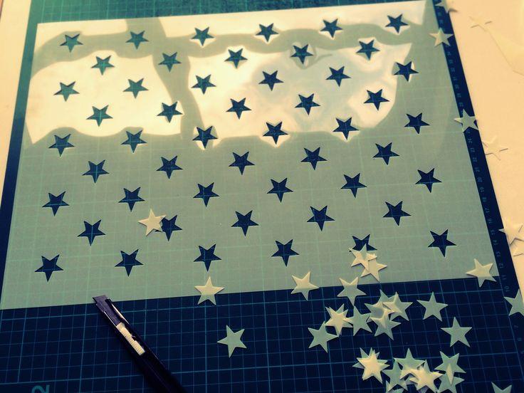 American flag stars stencil - createcuts
